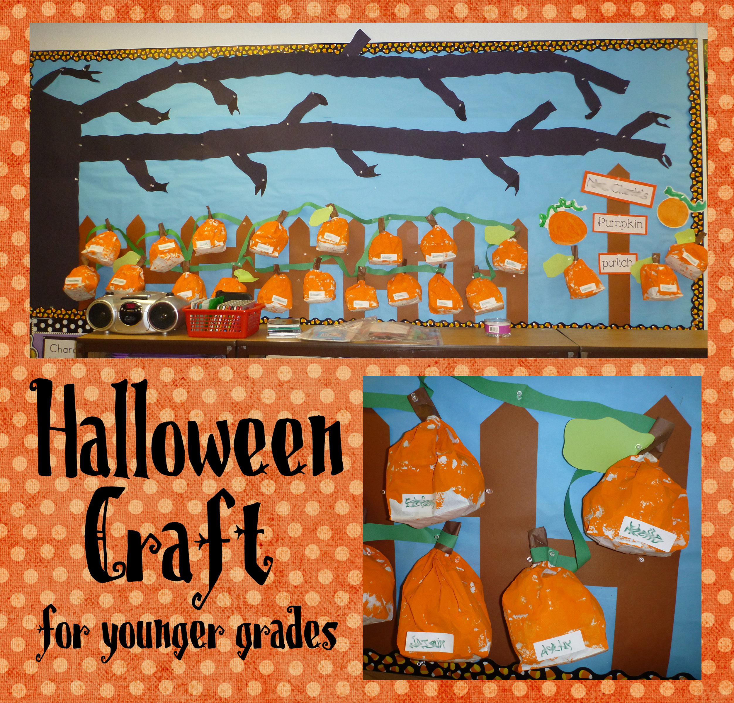 halloween craft: paper bag pumpkins for younger grades | squarehead