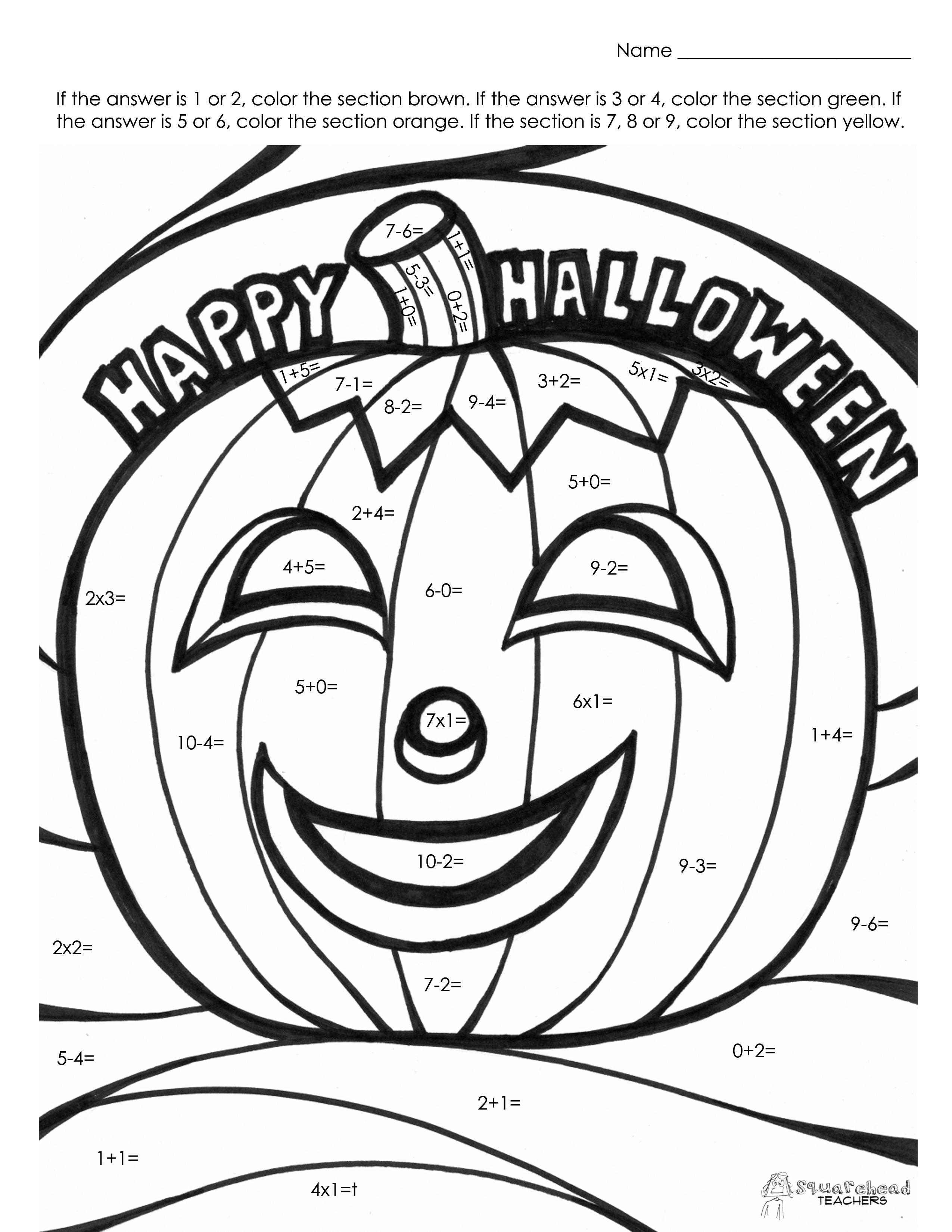 math worksheet : halloween math fact coloring page  squarehead teachers : Halloween Math Coloring Worksheets