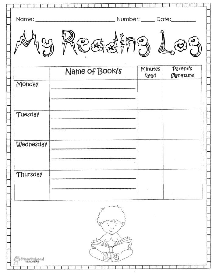 reading log sheet