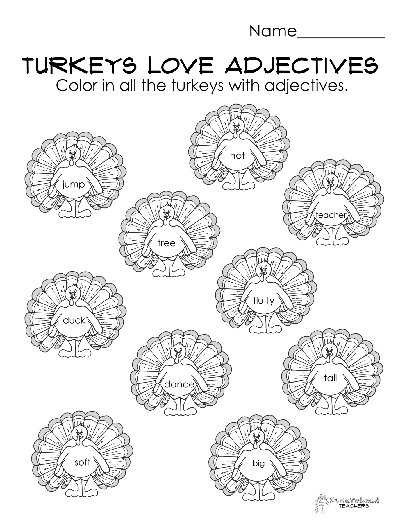 Turkeys Love Adjectives free parts of speech worksheet – First Grade Adjective Worksheets