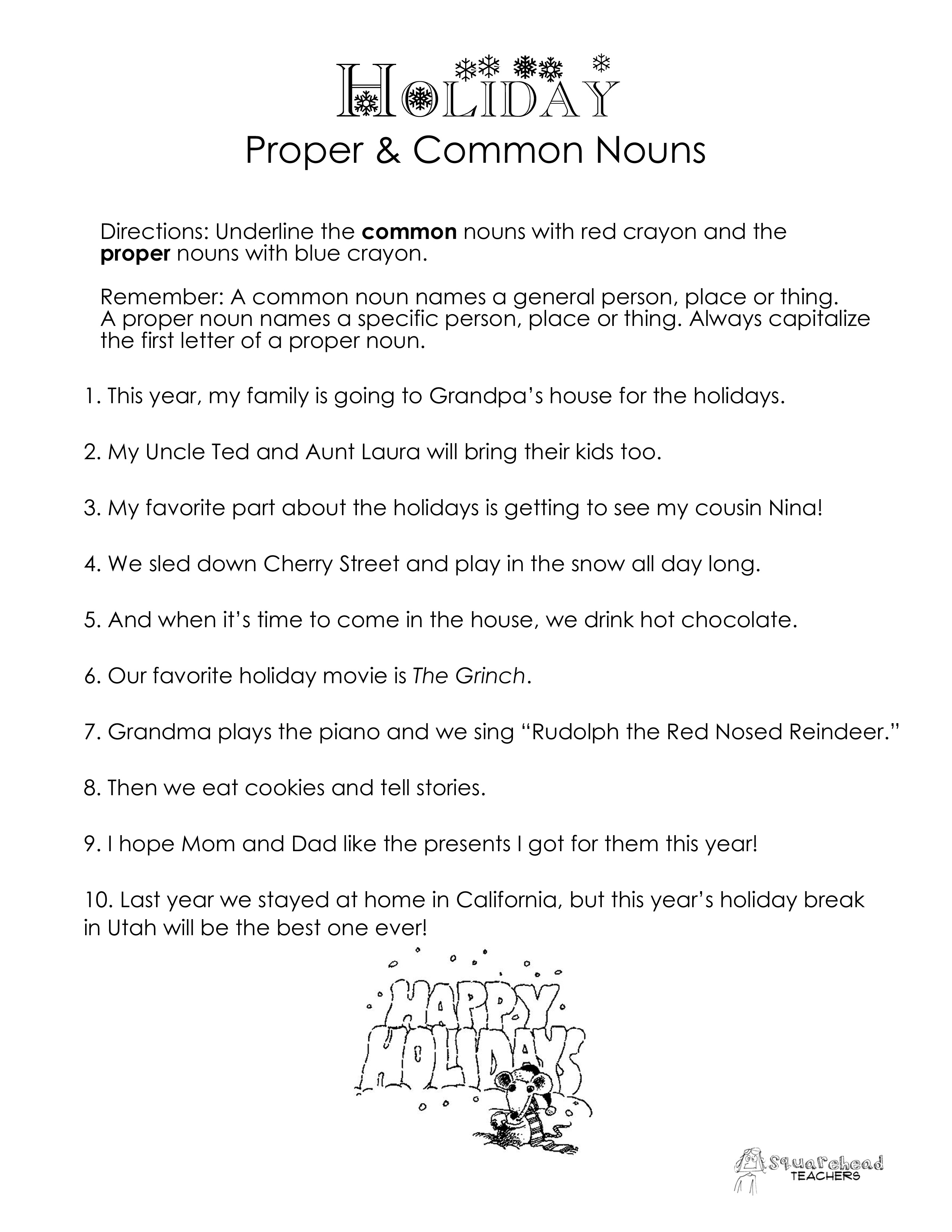 Common vs. Proper Nouns- Christmas/Winter Holidays worksheet ...