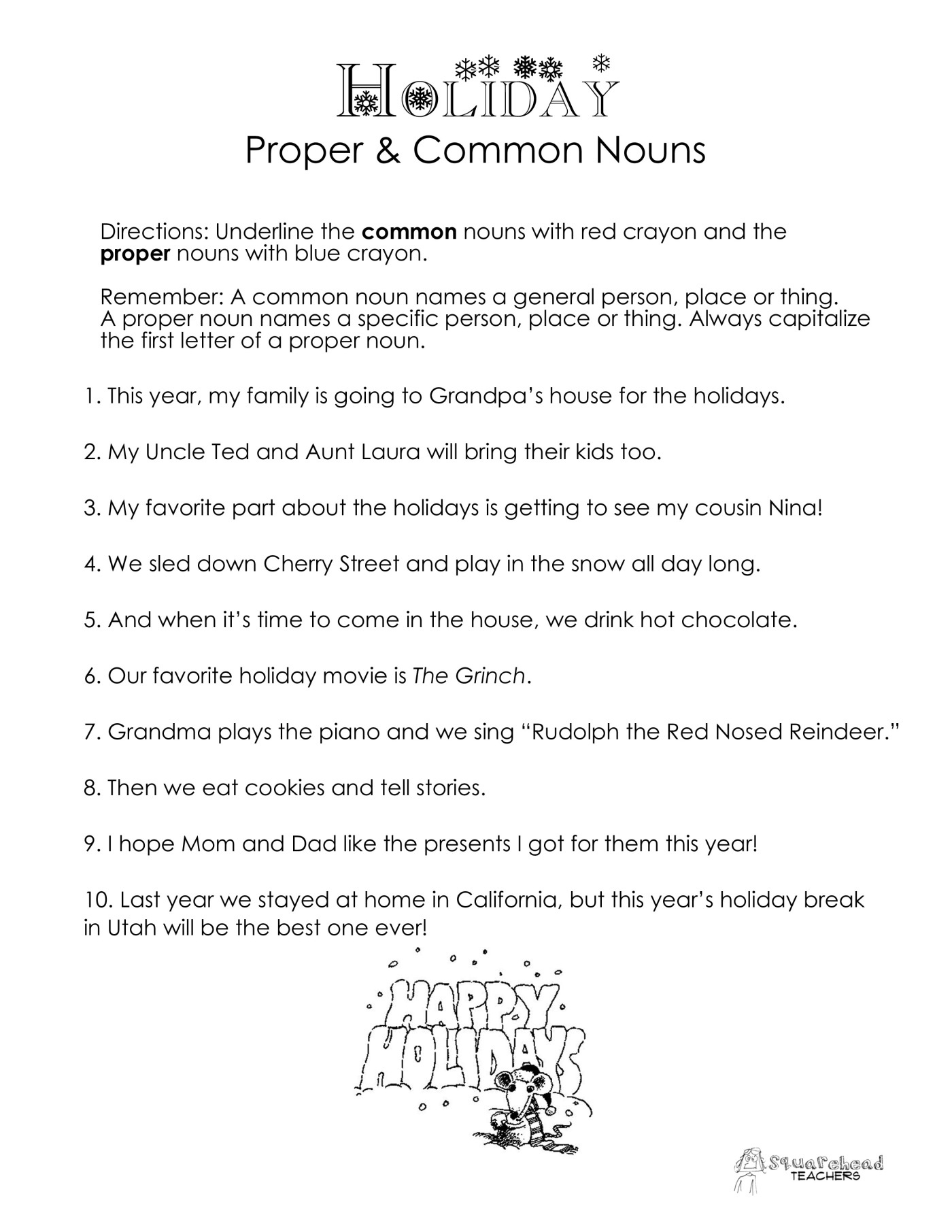 Common vs Proper Nouns ChristmasWinter Holidays worksheet – Common and Proper Nouns Worksheets
