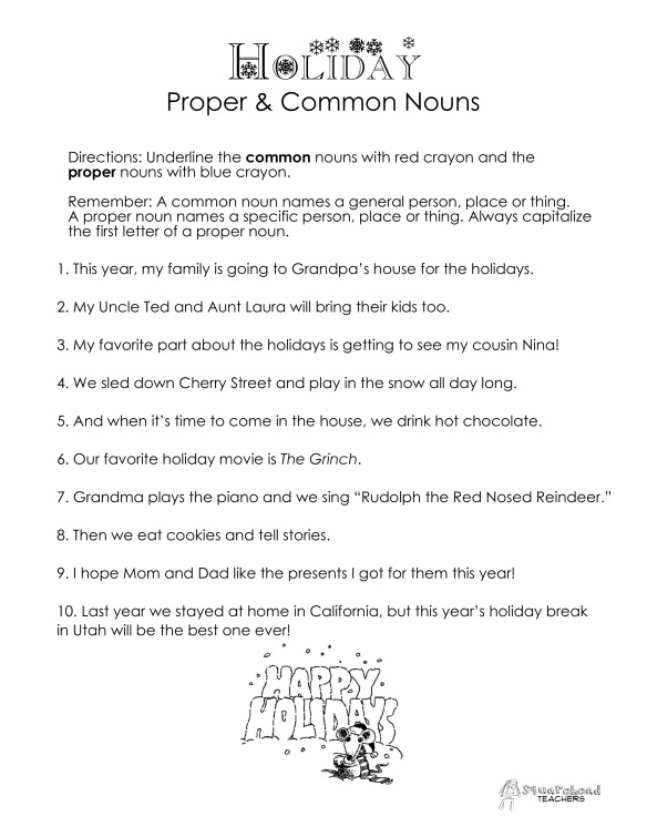 common vs proper nouns christmas winter holidays worksheet squarehead teachers. Black Bedroom Furniture Sets. Home Design Ideas