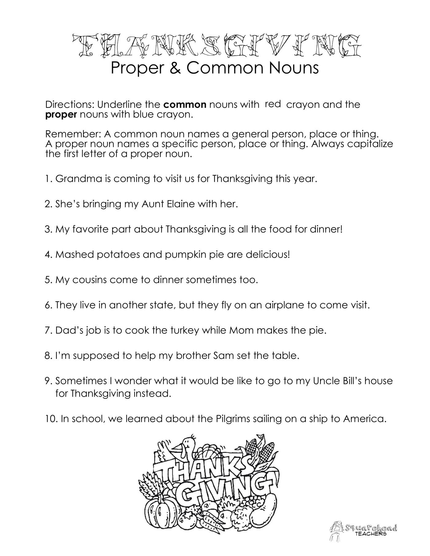 Thanksgiving Common vs Proper Nouns worksheet – Free Noun Worksheets