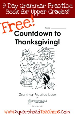 Thanksgiving grammar book- upper grades STICKER