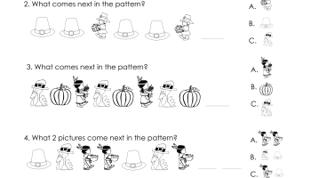 another thanksgiving patterns worksheet k 2nd - Fall Worksheets For First Grade