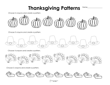 making patterns thanksgiving style free worksheet squarehead teachers. Black Bedroom Furniture Sets. Home Design Ideas
