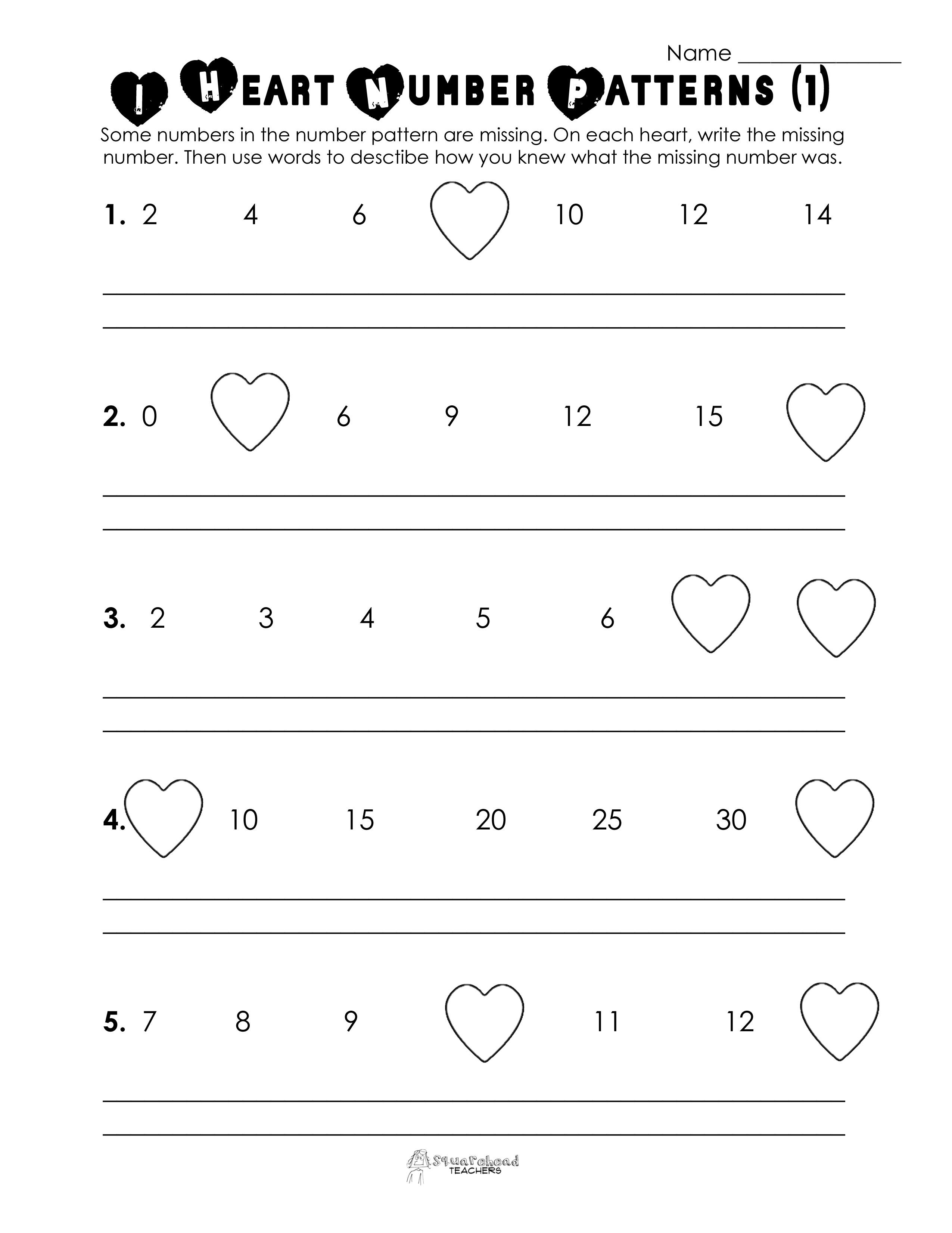 valentines Number patterns 1