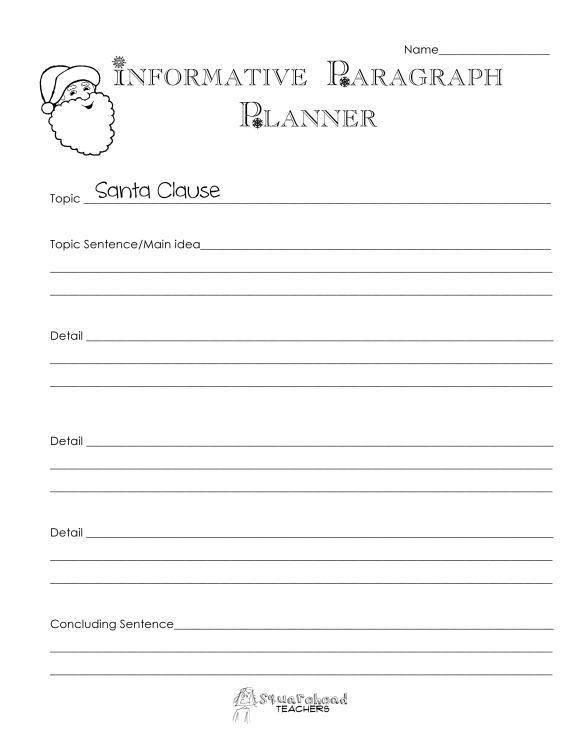 Santa Informative Paragraph- Planner page