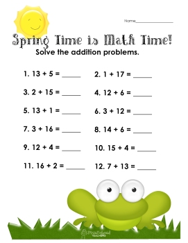 Spring time math- addition sums to 20 worksheet