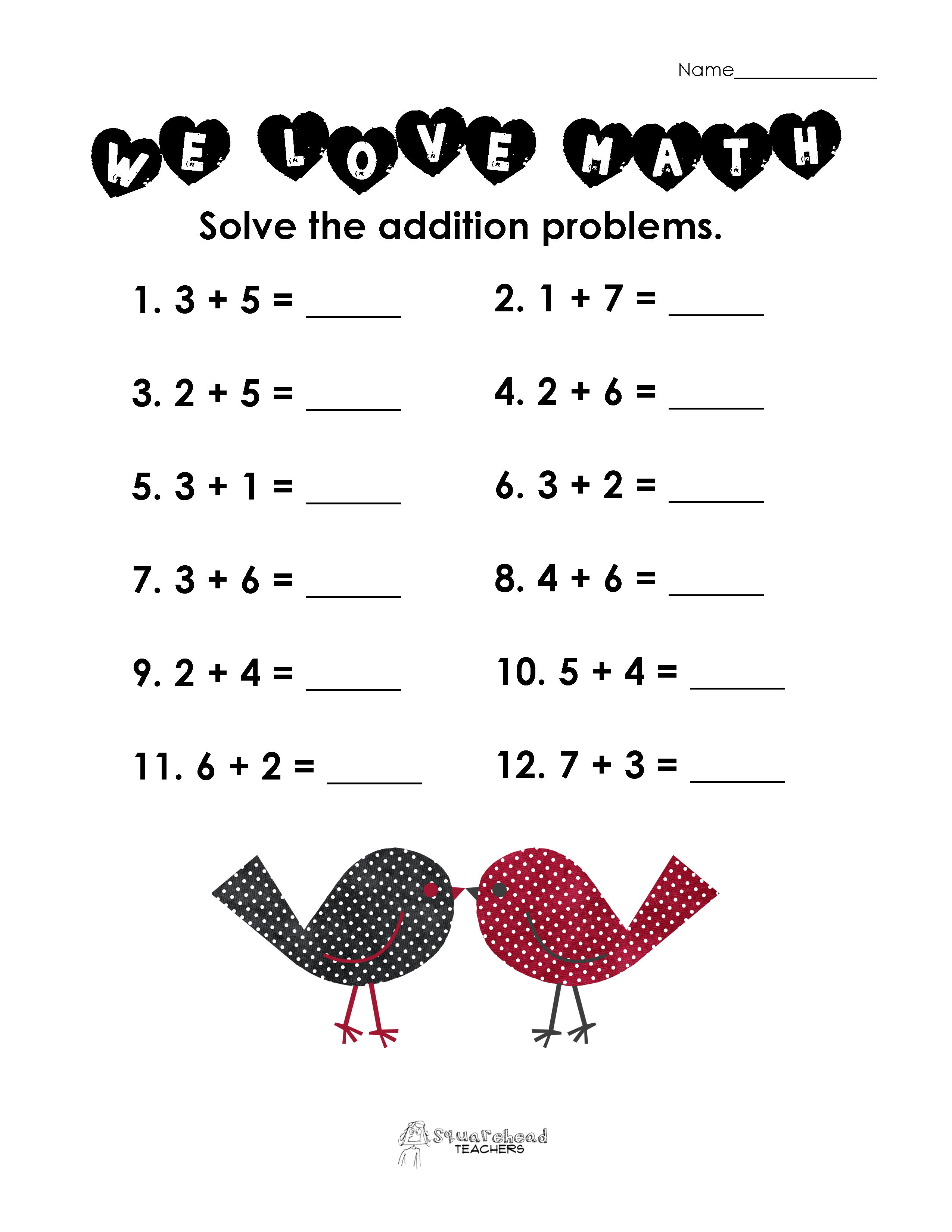 Valentines Day Math Simple Addition Worksheet – 2nd Grade Addition Worksheet