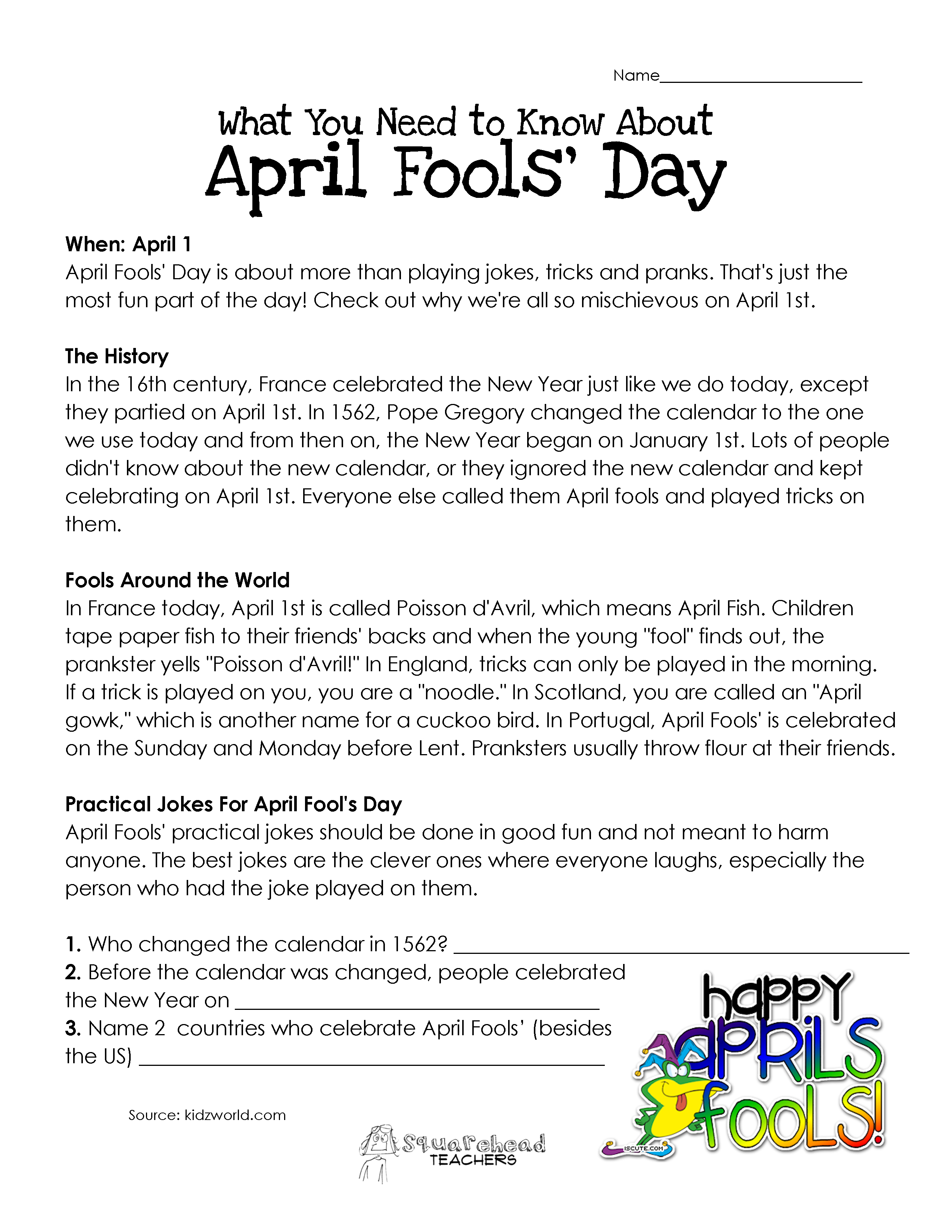 What You Need to Know About April Fools Day – All Summer in a Day Worksheet