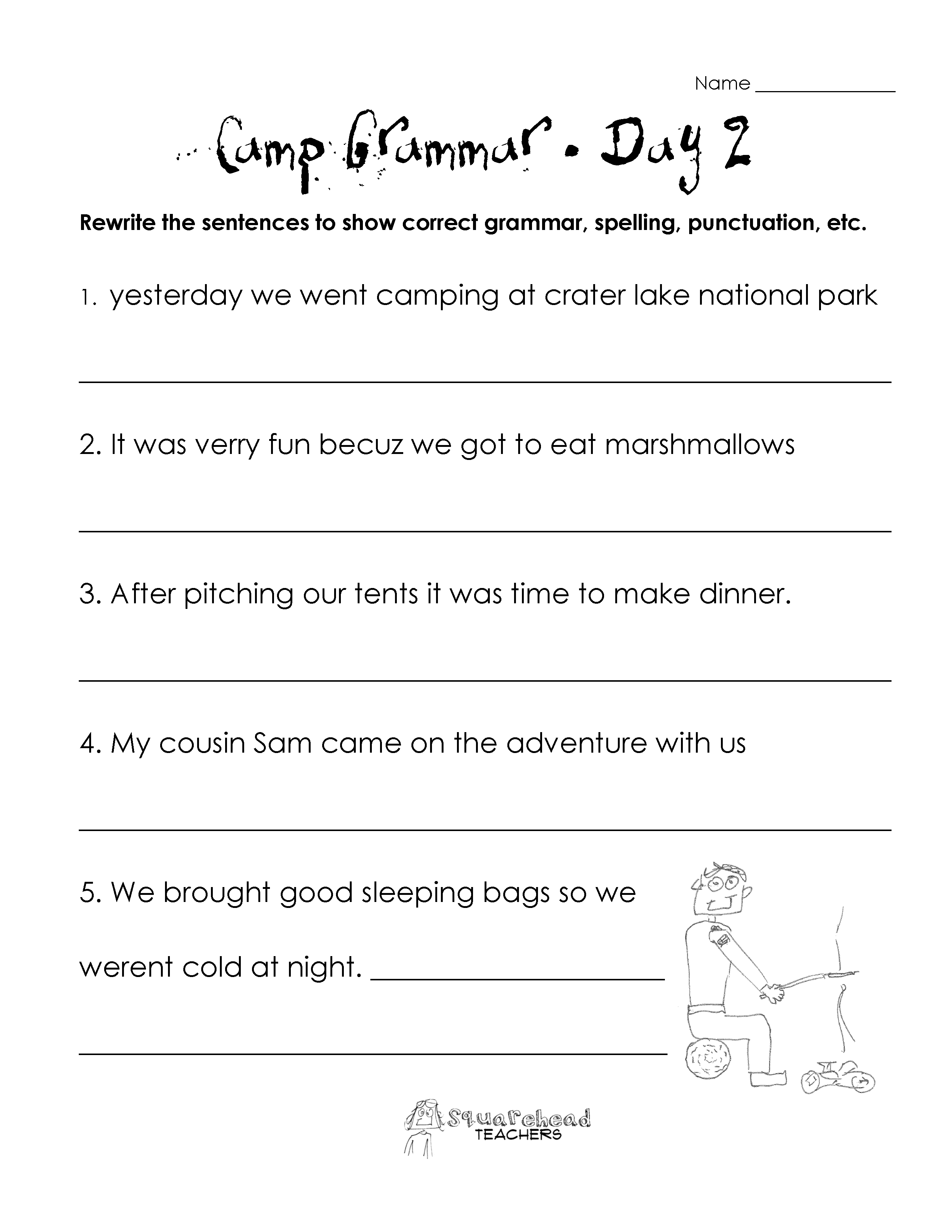 Worksheet Grammar For Grade 2 grammar squarehead teachers page 13 camp 1 2