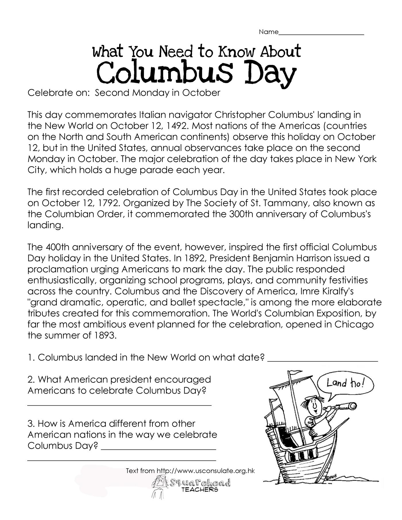 Worksheets Columbus Day Worksheets worksheet columbus day worksheets luizah and essay free squarehead teachers