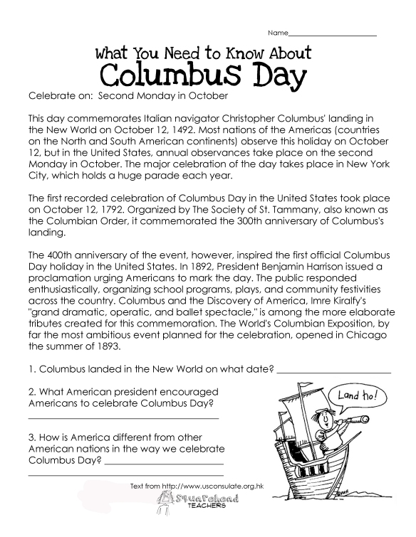 Reading Squarehead Teachers – Columbus Day Worksheets