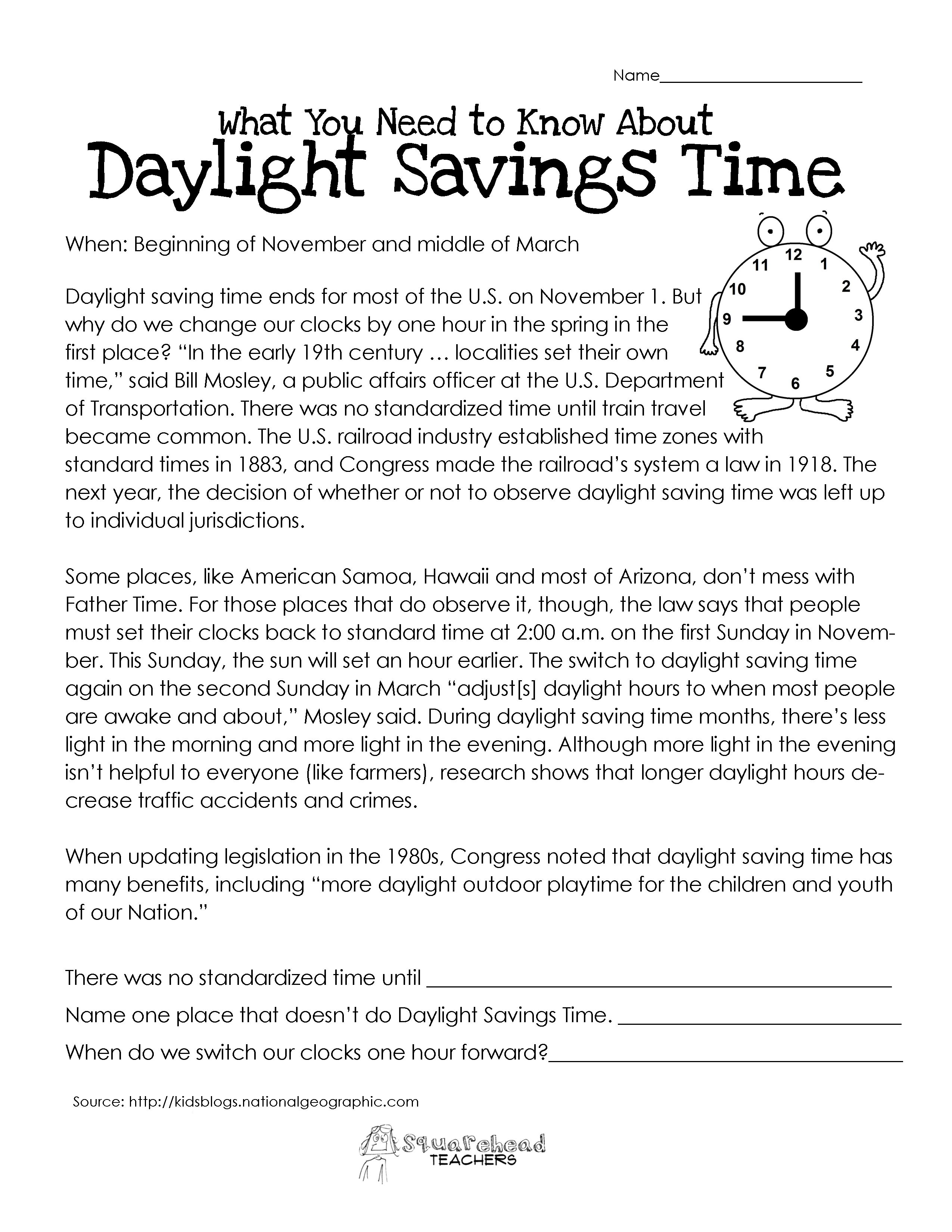 What You Need to Know About Daylight Savings – Savings Worksheet