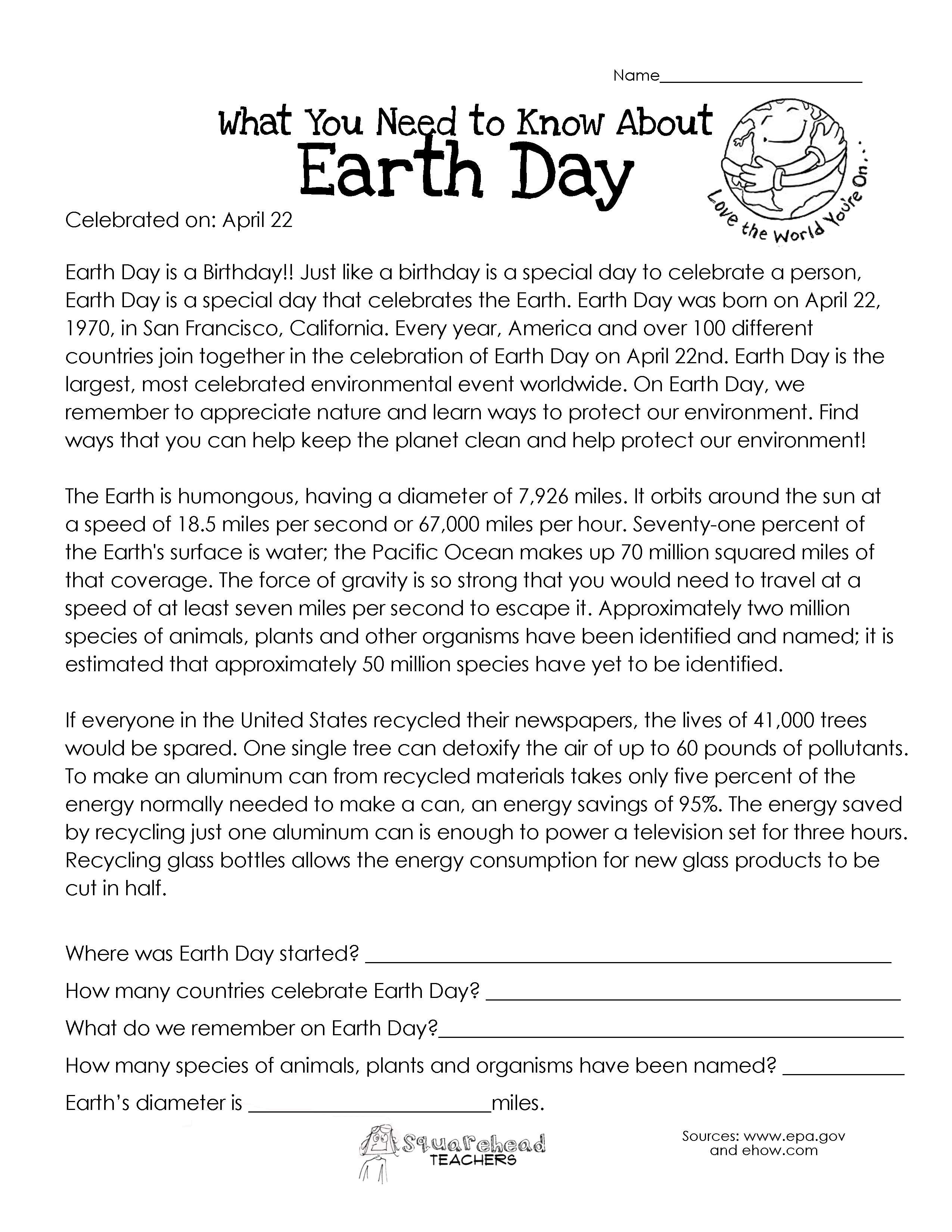 worksheet Earth Day Worksheet what you need to know about earth day squarehead teachers
