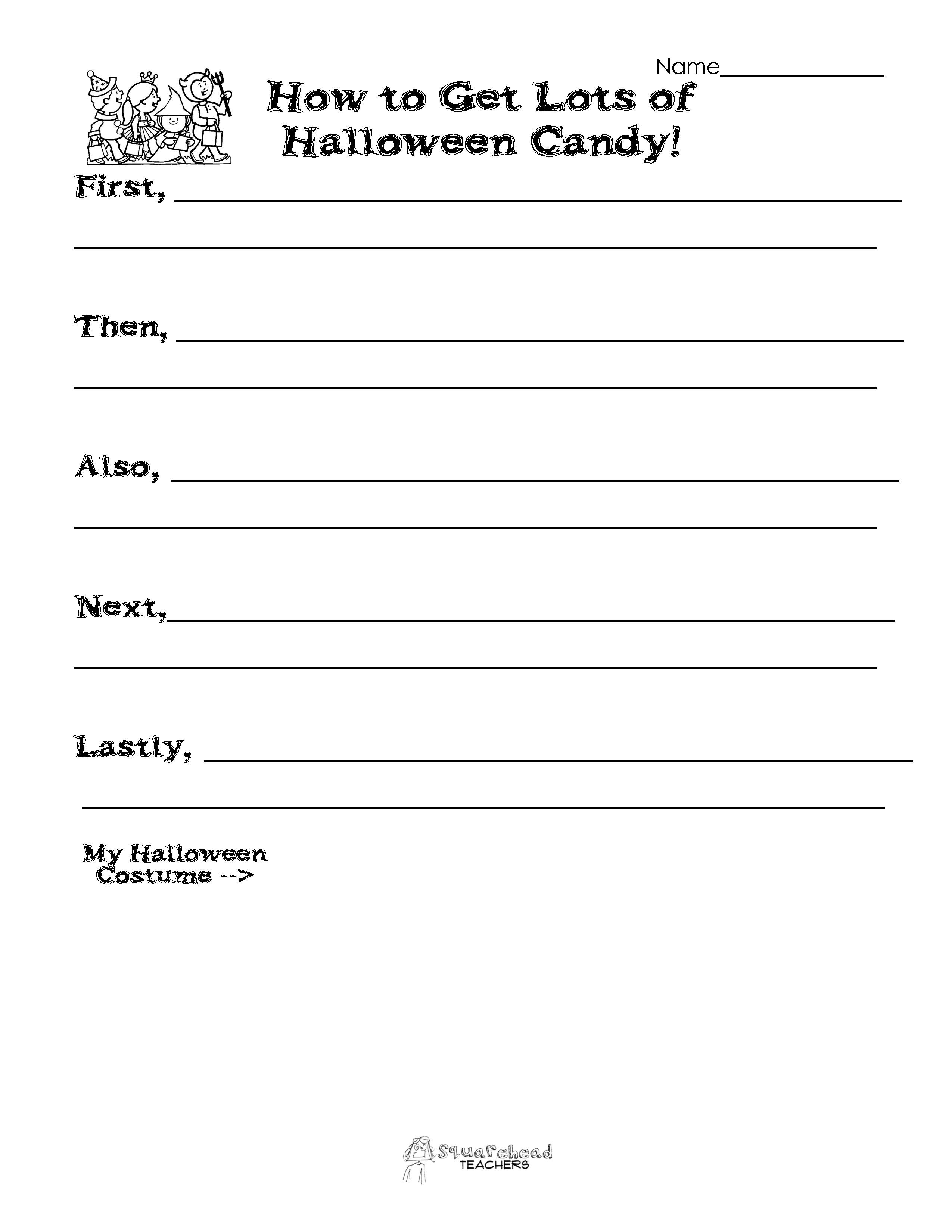 halloween writing activity how to get lots of halloween candy how to get lots of halloween candy