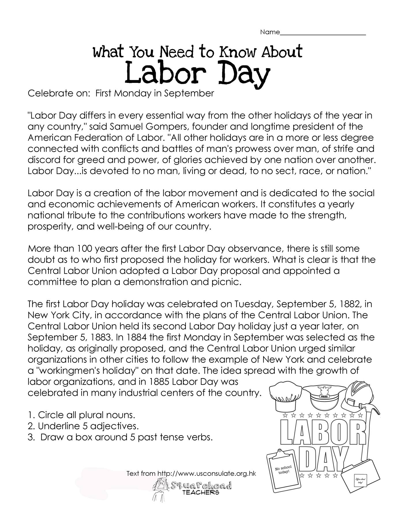 Labor Day What You Need To Know Free Worksheet Squarehead Teachers