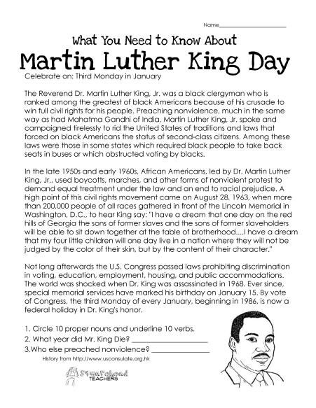 Martin Luther King Day (free worksheet)