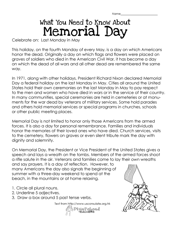 Memorial Day (free worksheet)