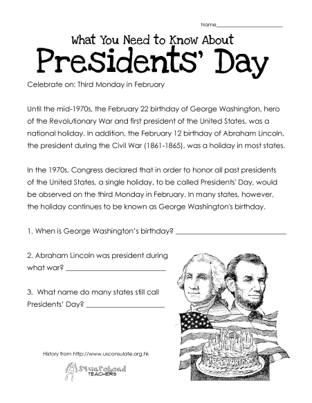 Presidents' Day (free worksheet) UPDATED