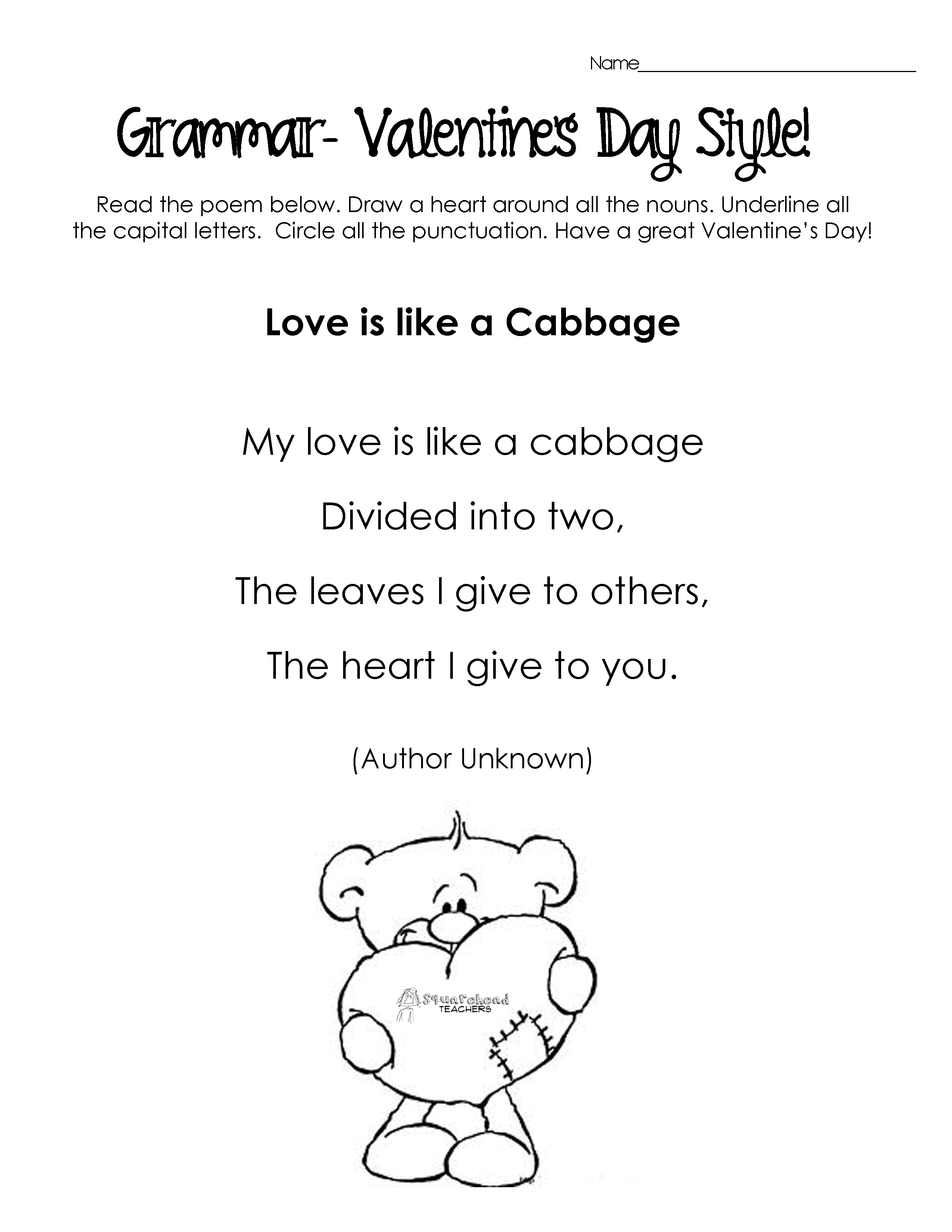 Valentine Easy Worksheets : Silly valentine s day poems for grammar practice free