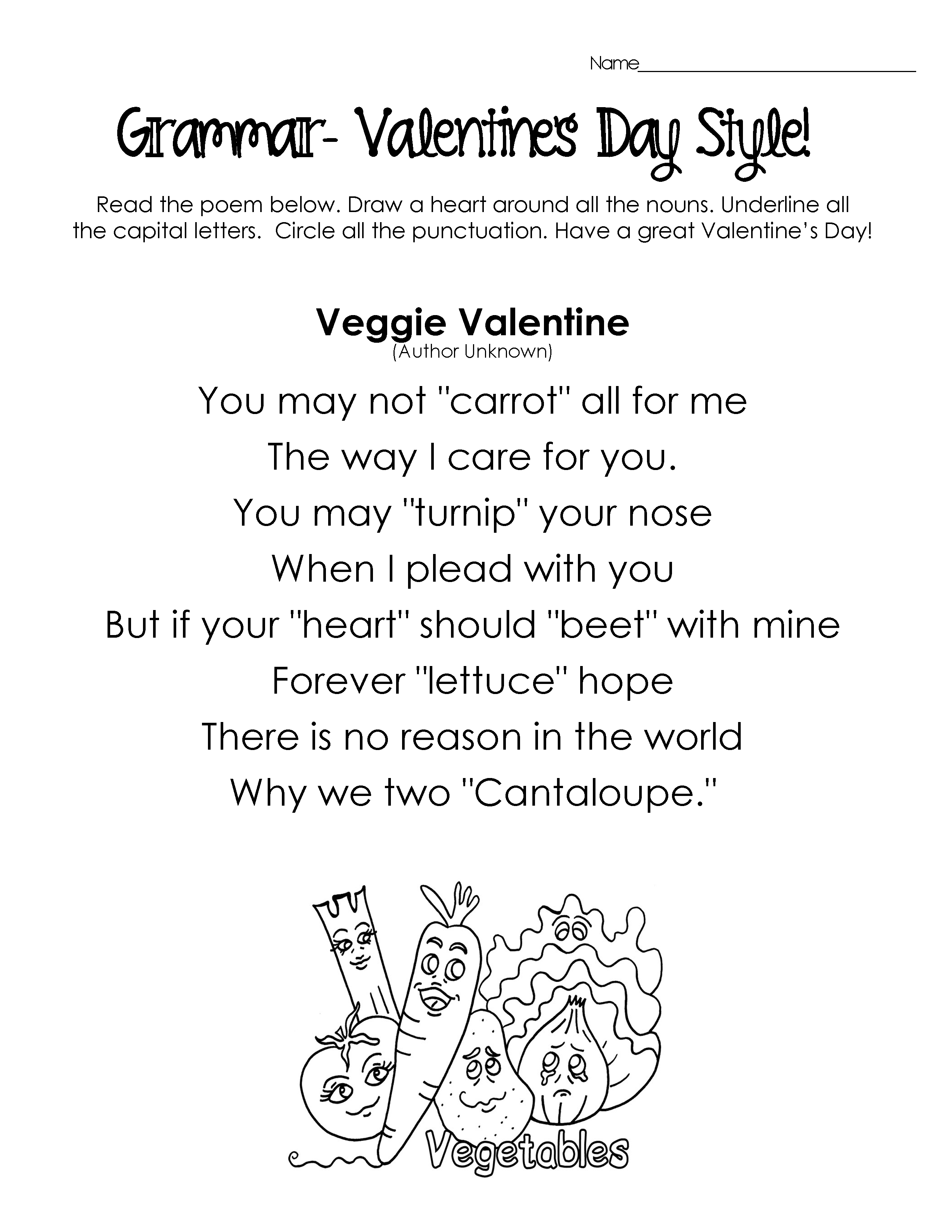 Silly Valentines Day Poems for Grammar Practice free worksheets