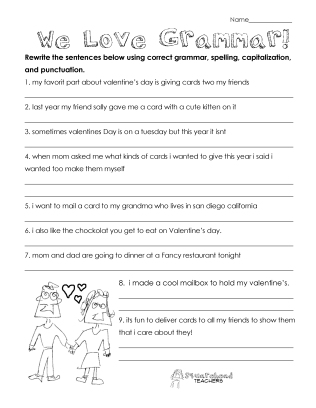 Valentine's day grammar worksheet