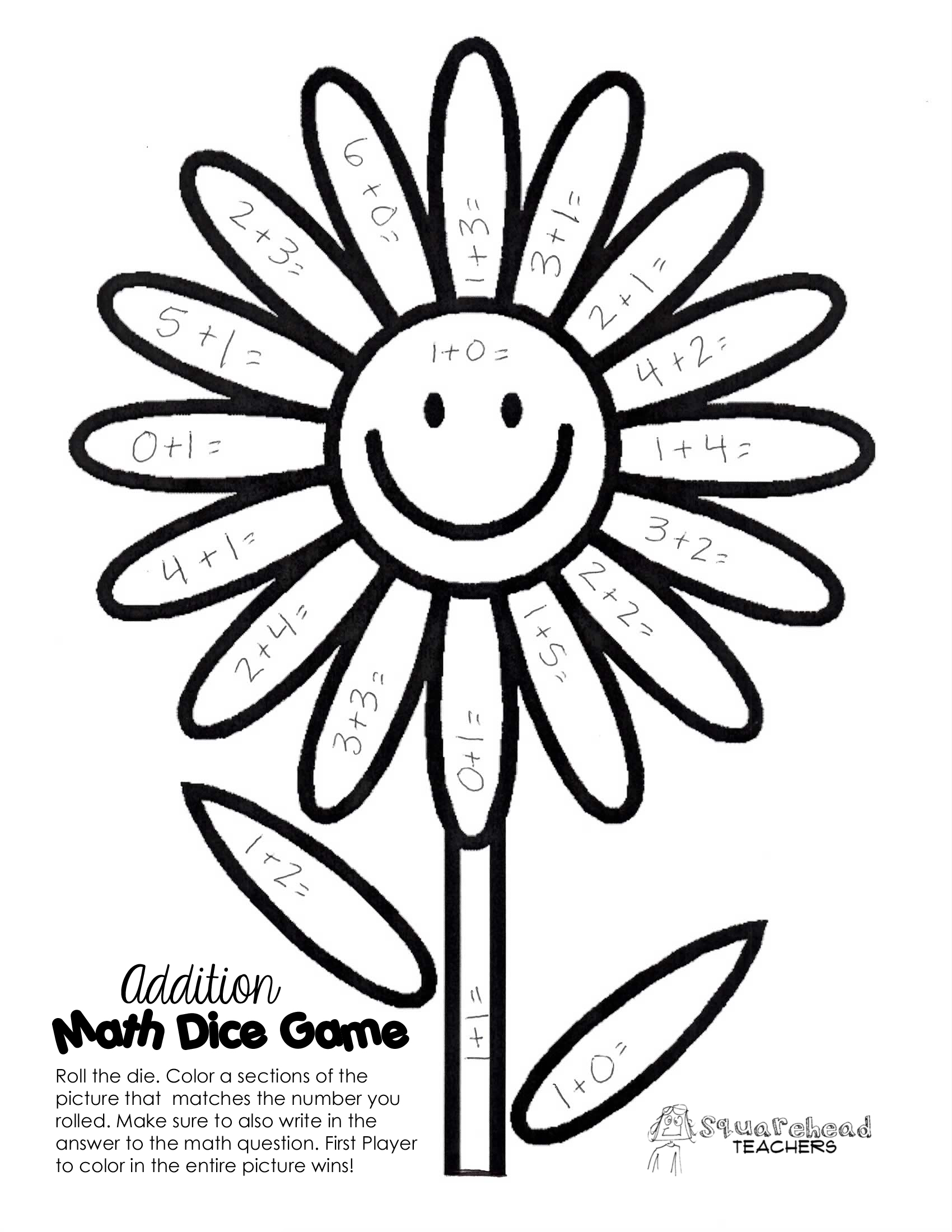 Spring Time Math Facts Dice Game – Subtraction Games Worksheets