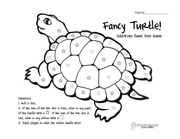 Fancy Turtle- odd even sums- two dice