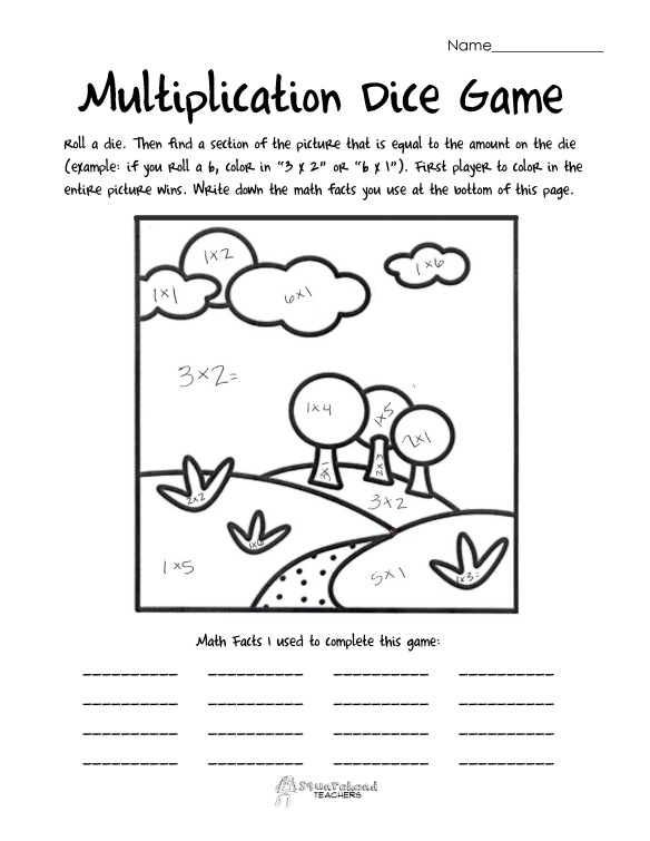 multiplication dice game- landscape