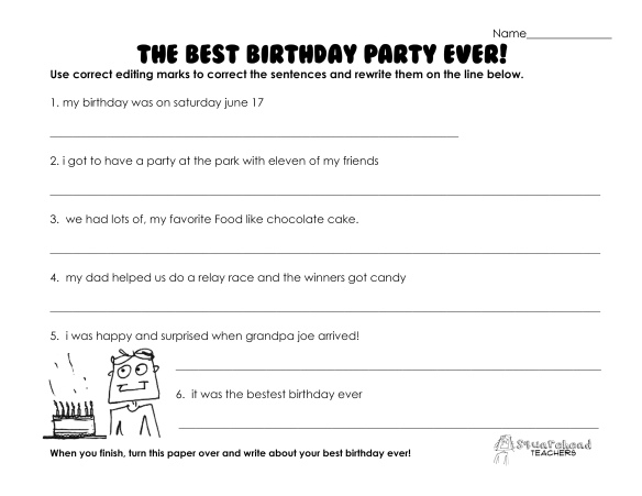 best birthday party ever- grammar worksheet