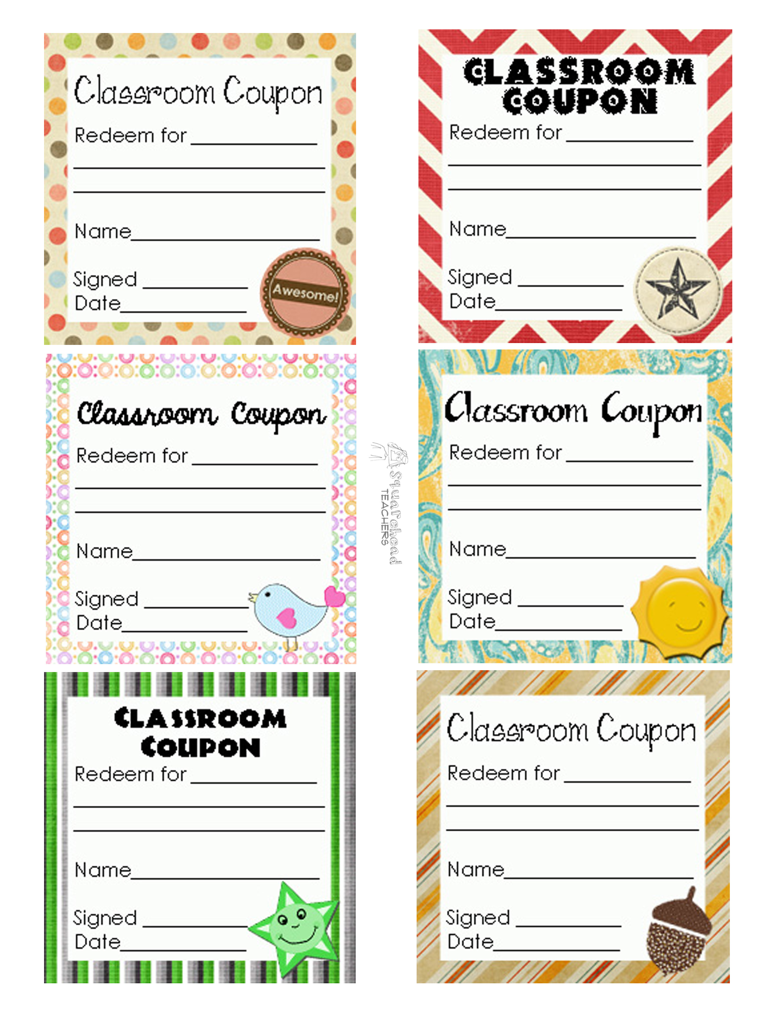 Squarehead Teachers  Coupon Sheet Template