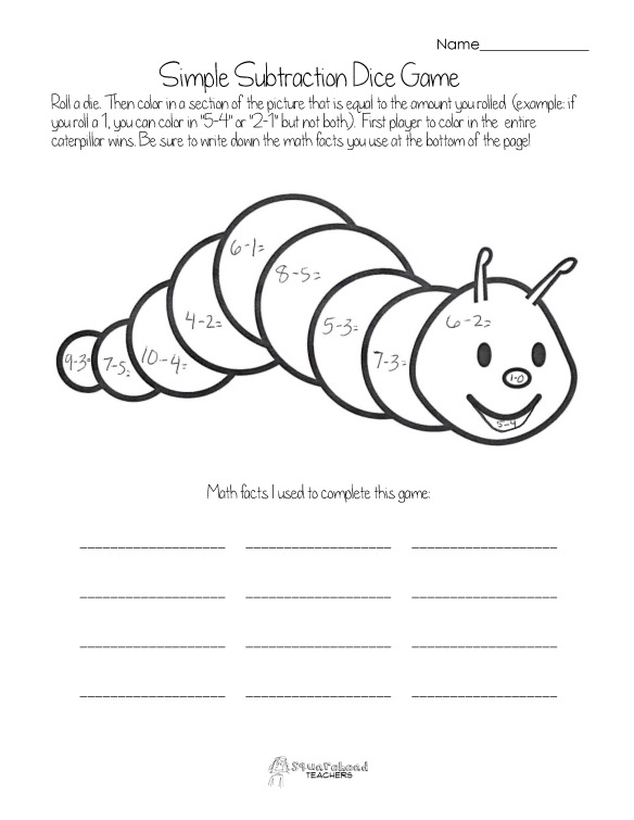 Dice Game- simple subtraction- caterpillar