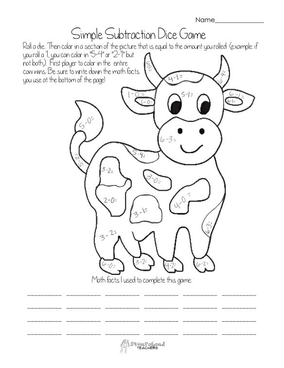 Dice Game- simple subtraction cow