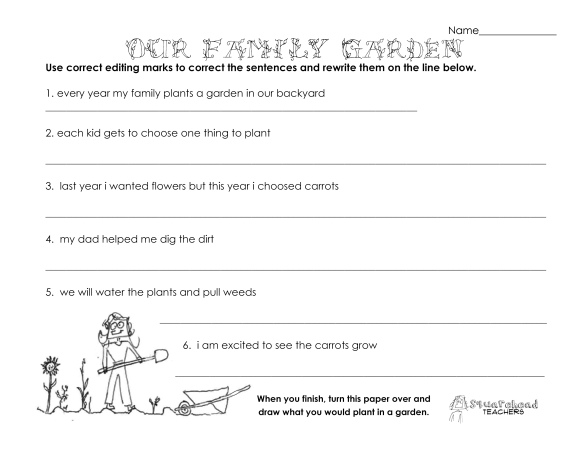 Our family garden- grammar worksheet