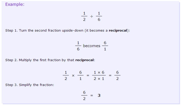review of dividing fractions