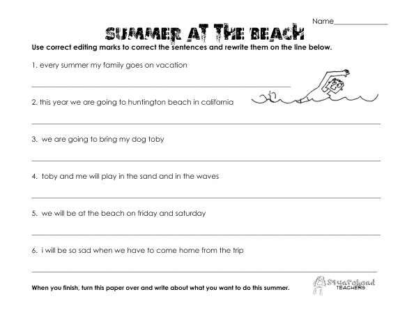 summer at the beach- grammar worksheet
