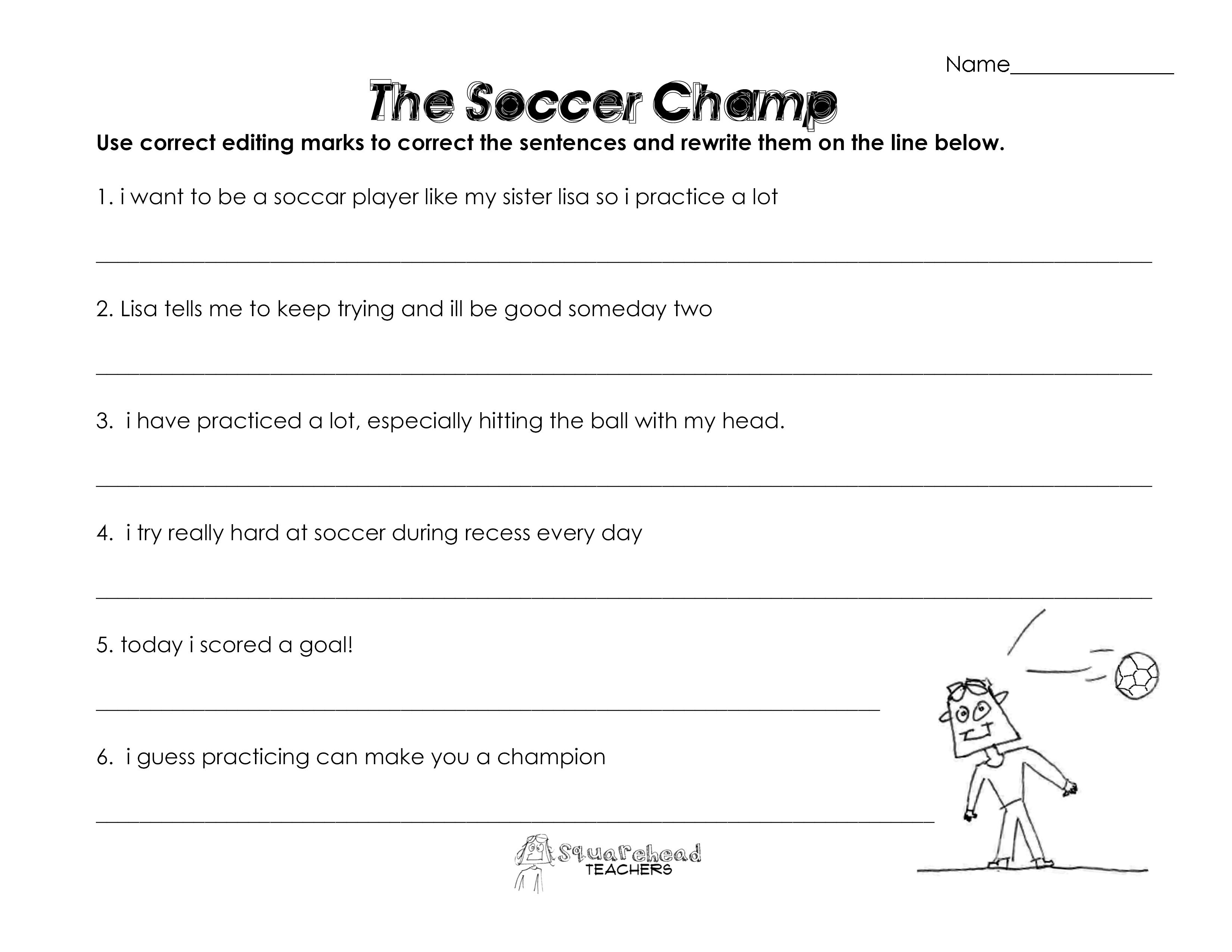 The Soccer Champ (grammar worksheet) | Squarehead Teachers
