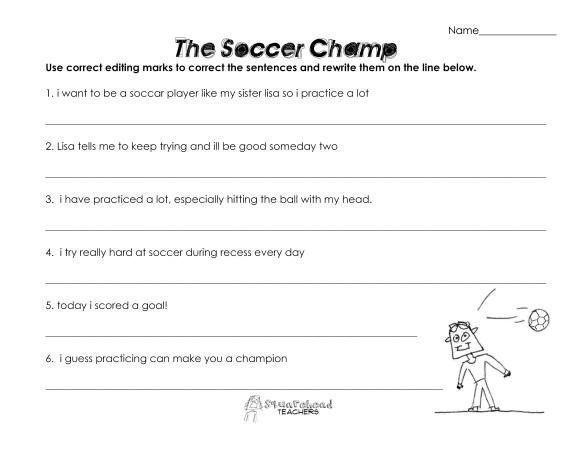 The soccer champ- grammar worksheet
