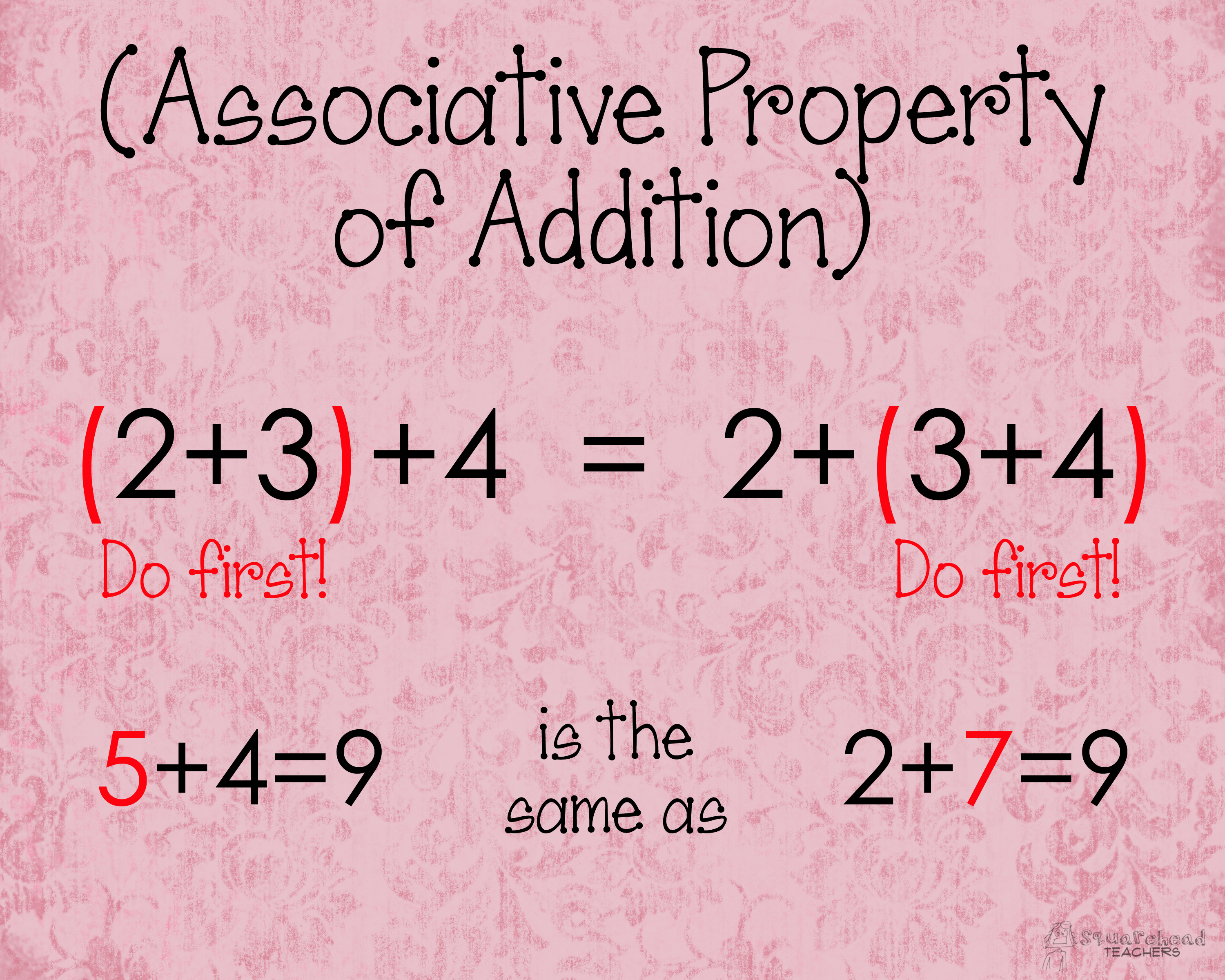 worksheet Properties Of Addition Worksheets associative property of addition poster squarehead teachers poster