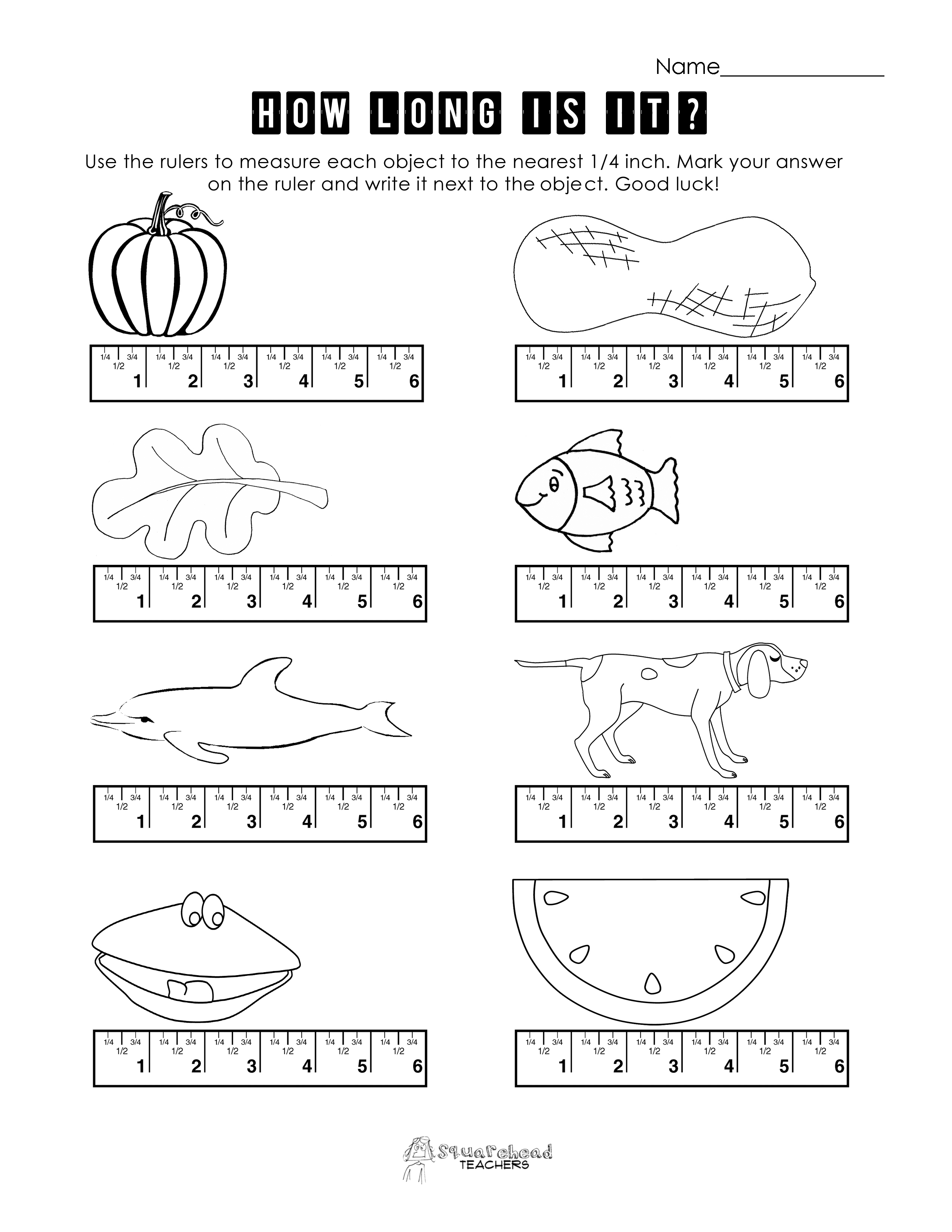 Measurement Practice 2 – Ruler Measurements Worksheets