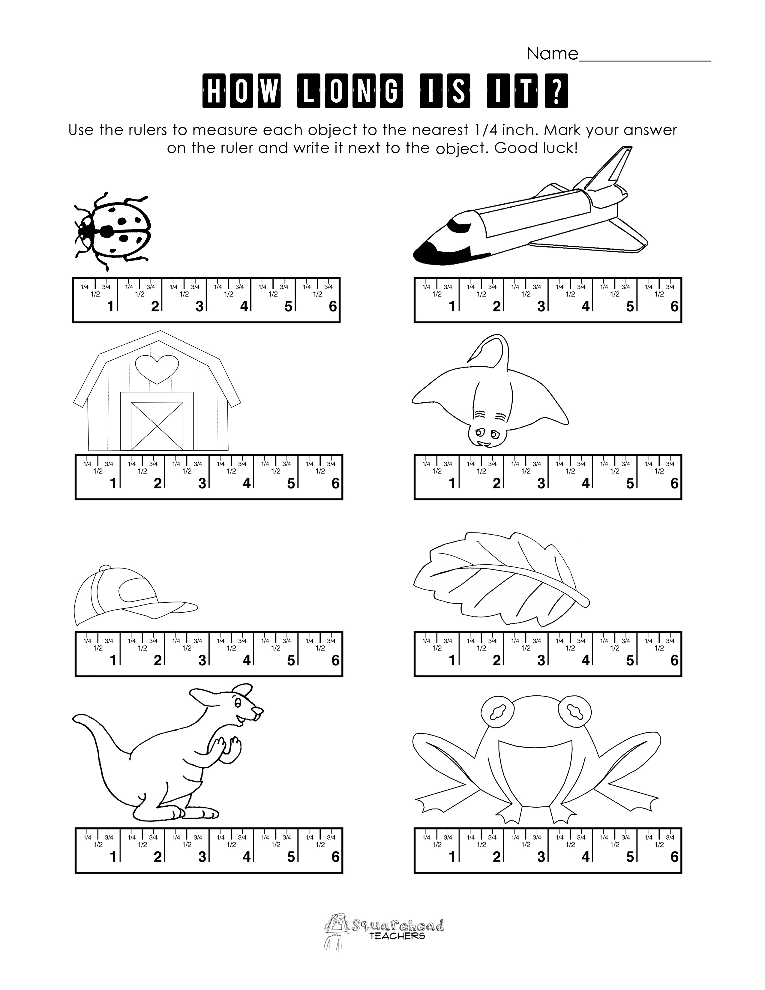 Measurement Practice 3 – Ruler Measurements Worksheets
