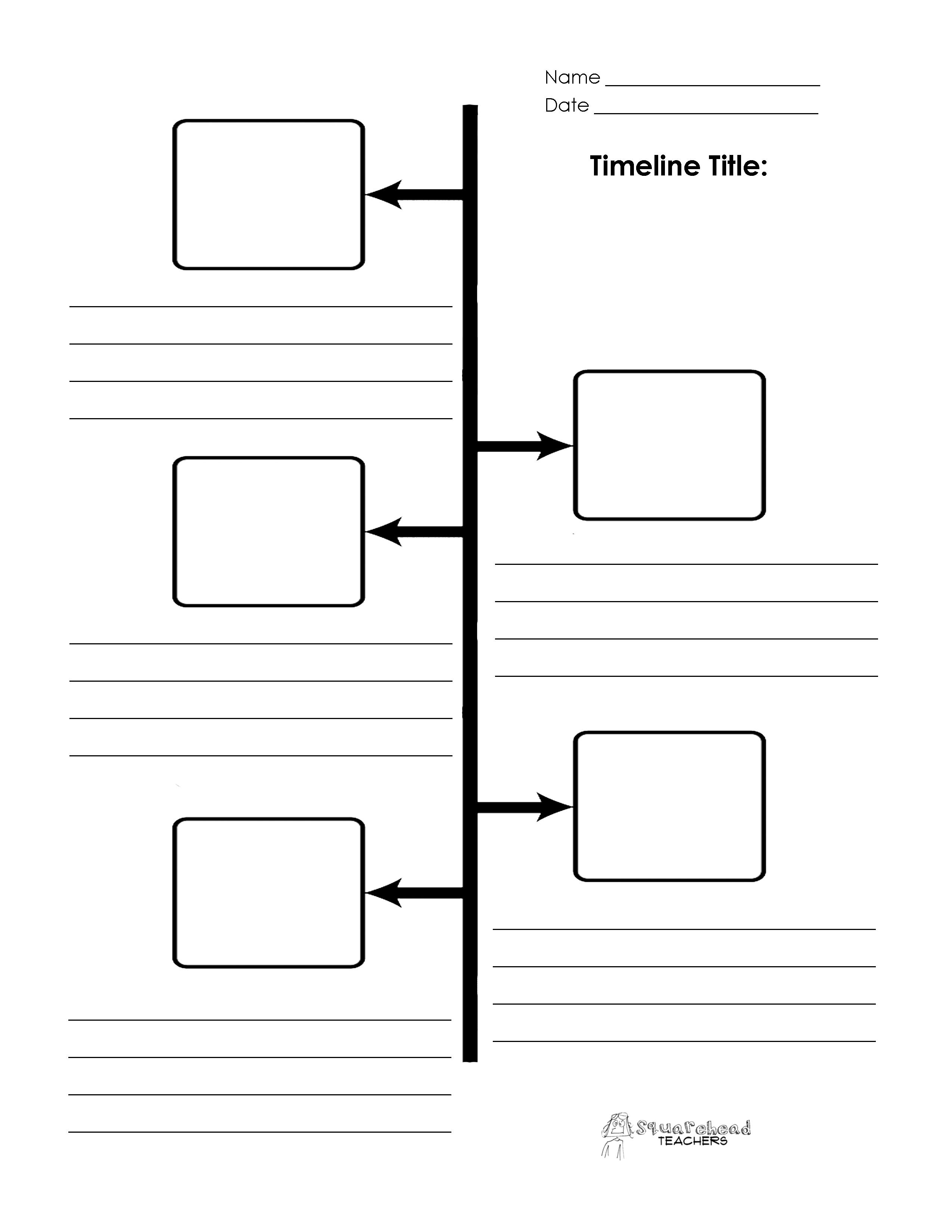 graphic regarding Printable Timeline Template identify Blank Timeline Printables Squarehead Instructors