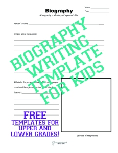 Biography Writing Template for Kids