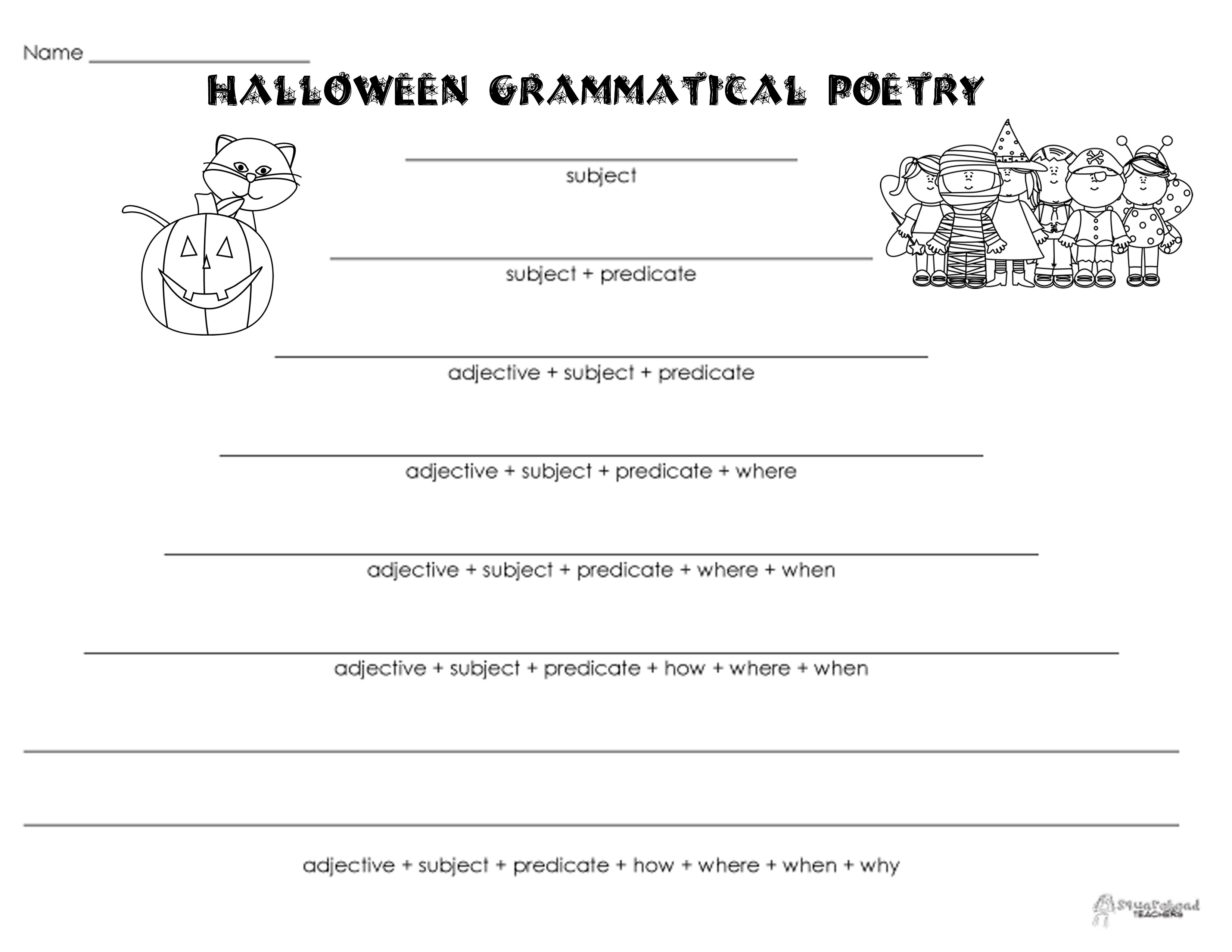grammatical poetry halloween squarehead teachers. Black Bedroom Furniture Sets. Home Design Ideas