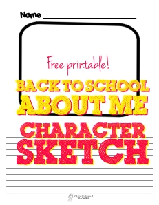 Back to school about me character sketch sticker