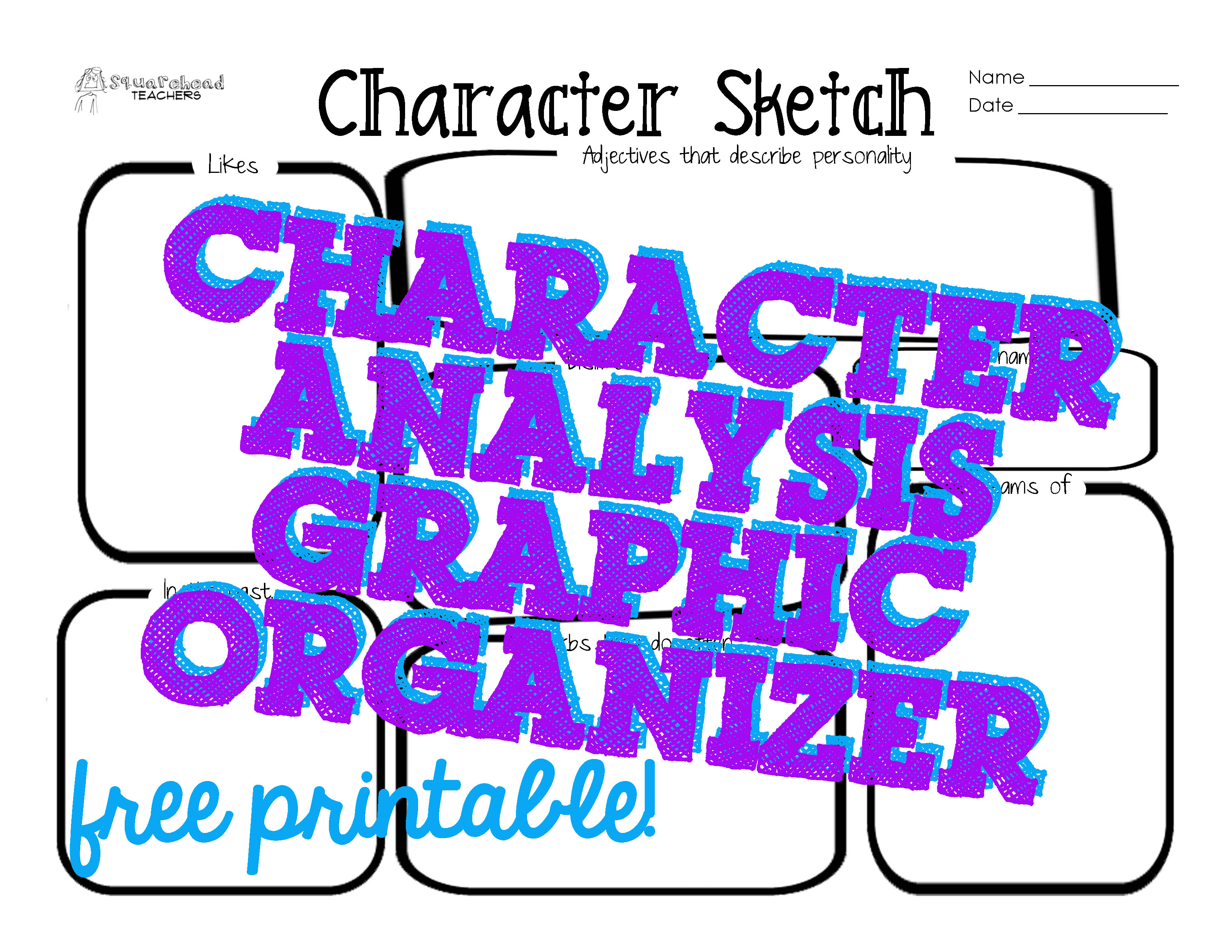 photograph about Character Graphic Organizer Printable named Persona Sketch/Exploration Picture Organizer Squarehead