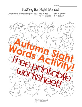falling for sight words sticker